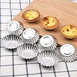 32 piezas de aluminio molde de tarta de huevo, molde de pudín, molde de pudín de flor de la galleta herramienta de cocción de la cocina se puede reutilizar
