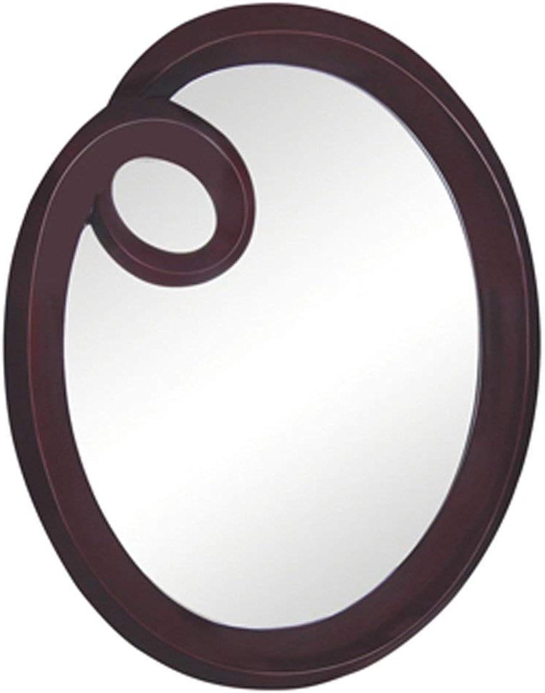 SMC Mirror Bathroom Waterproof Wall Hanging Simple Round Mirror Mirror Bedroom Convenient Dressing Mirror (color   Mahogany color)