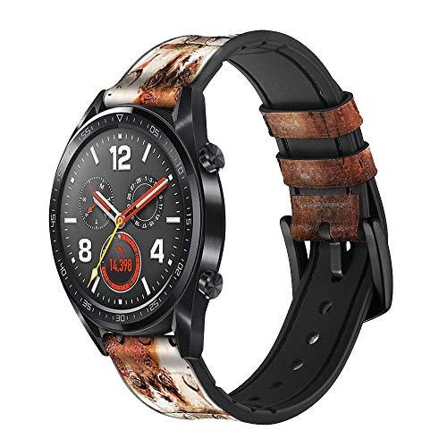 Innovedesire Vintage Welding Helmet Correa de Reloj Inteligente de Cuero y Silicona para Wristwatch Smartwatch Smart Watch Tamaño (22mm)