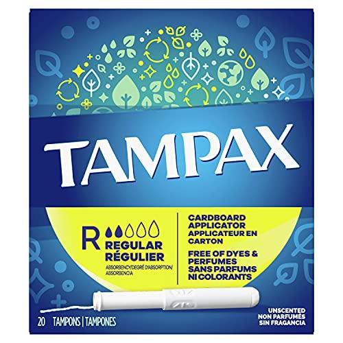 Tampax Cardboard Applicator Tampons, Regular Absorbency, 20 Count - Pack of 4 (80 Total Count)
