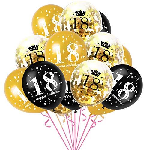 Haihuic 18 cumpleaños Globos de Decoracion, 15 Piezas de Globos de látex de Confeti número 40 con Cartel de Feliz cumpleaños para artículos de Fiesta de Feliz cumpleaños de 18 años, 30 cm