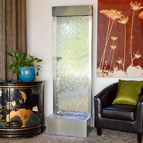 Jersey Home Decor 72' X 24' Standing Waterfall Clear Glass,Stainless Steel Frame