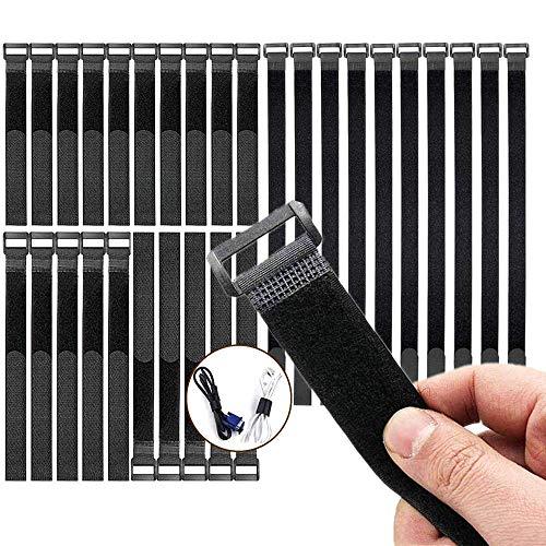 Extra Stark Kabelbinder klett schwarz 30cm,20cm,15cm Klettverschluss Selbstklebend Wiederverschließbar Klett Kabel Organizer Kabel Binder 3 Verschiedene Größen