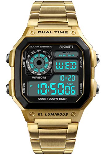 PASOY Men's Digital Multi-Function Watches Dual Time Alarm Stopwatch Countdown Backlight Waterproof Watch (Gold)