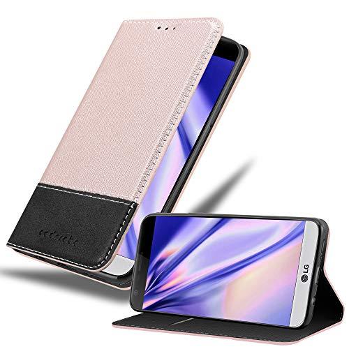 Cadorabo Custodia Libro per LG G5 in ORO ROSATO NERO - con Vani di Carte, Funzione Stand e Chiusura Magnetica - Portafoglio Cover Case Wallet Book Etui Protezione