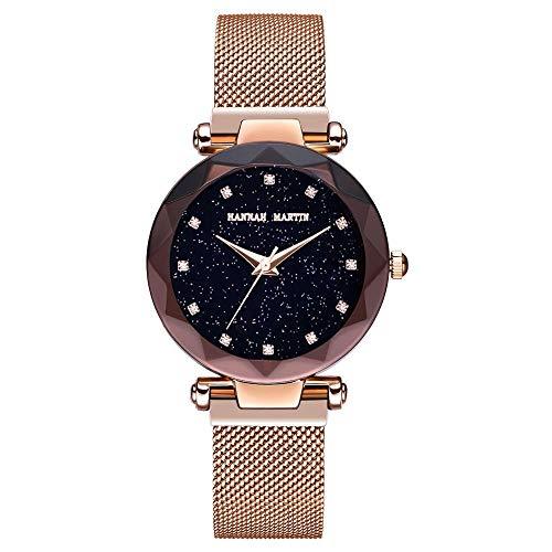 Damen Uhren, L'ananas Frauen Mode Sternenklarer Himmel Dial Diamant schneiden Freie Größe Maschengurte Armband Armbanduhr Women Watches Bracelet (Gold)