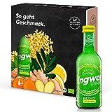 Kloster Kitchen IngwerTRINK BIGSHOT 3 x 250 ml mit echten Ingwerstückchen I Bio Ingwer Shot vegan I 12 Shots je Glasflasche I Ingwershot süß-scharf ohne Zusatzstoffe & mit natürlicher Süße
