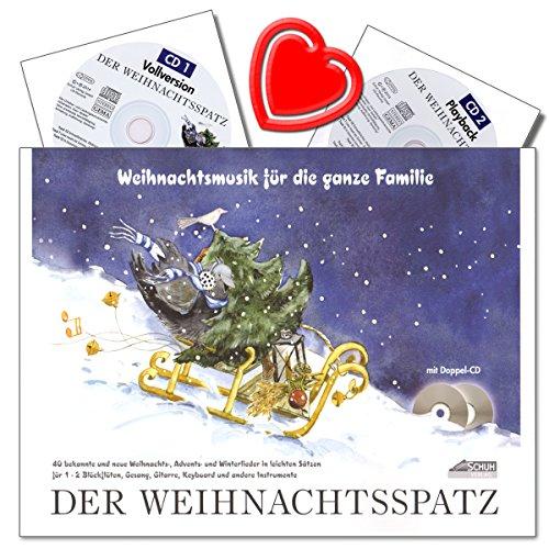 Der Weihnachtsspatz - Autor Karin Schuh - Winter-, Advents- und Weihnachtslieder für 1-2 Blockflöten und Gesang mit Akkordbezifferung, 2 CDs und bunter herzförmiger Notenklammer