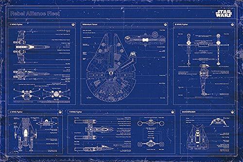 Star Wars Póster Rebel Alliance Fleet/Flota de la Alianza Rebelde Cianotipo/Blueprint (91,5cm x 61cm) + 2 Marcos Transparentes con suspención