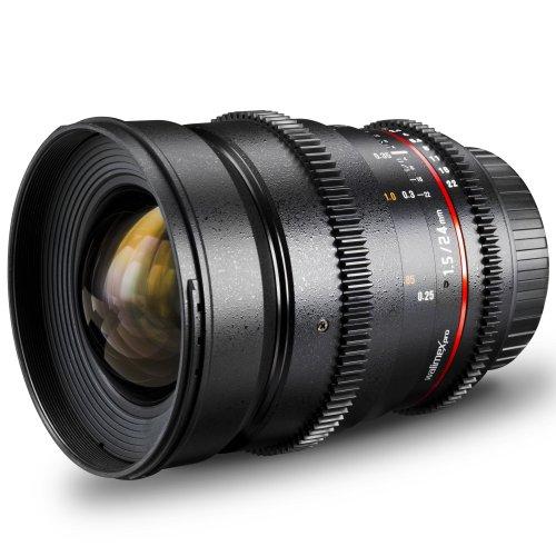 Walimex Pro 24 mm 1:1,5 VDSLR Foto- und Videoobjektiv (inkl. Filtergewinde 77mm, Gegenlichtblende, Zahnkranz, stufenlose Blende und Fokus) für Sony A Objektivbajonett schwarz