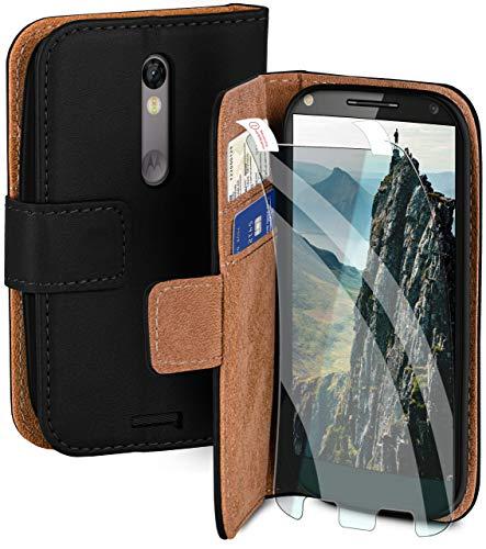 moex Handyhülle für Motorola Moto X Force - Hülle mit Kartenfach, Geldfach & Ständer, Klapphülle, PU Leder Book Hülle & Schutzfolie - Schwarz