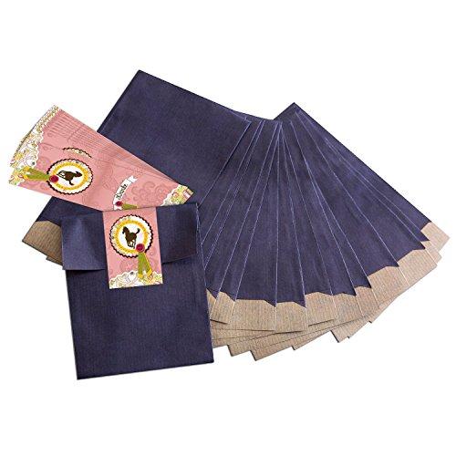 10 kleine blauwe papieren zakjes geschenkzakjes geschenkverpakking (13 x 18 cm) met sticker