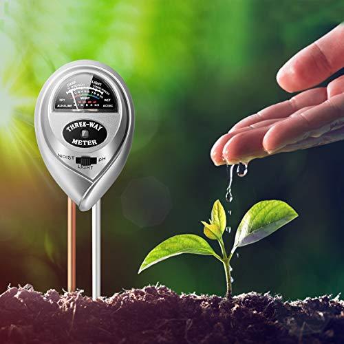 Soil pH Meter, 3-in-1 Soil Tester with Moisture/Light/pH Tester for Garden Plants, Farm, Lawn, Indoor & Outdoor Plants Care Soil Tester, Soil Test Kit