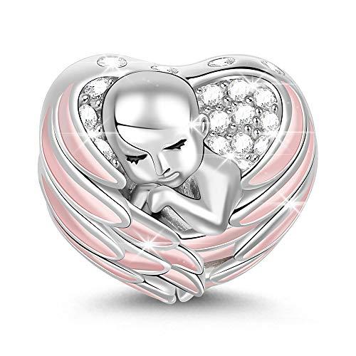 GNOCE Baby Charm Anhänger Mit Rosa Flügel 925 Sterling Silber Schlafendes Baby mit Engelsflügeln Perlen Charm mit Zirkonia für Armband Halskette Schmuck Geschenk für Damen (Rosa)