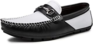 LFSP Black Classic Oxford Shoes Modern Wide Flats Fashion Summer Loafer for Men Lightweight Penny Oxfords Genuine Leather Casual Driving Round Toes Boat Shoes A (Color : Black White, Size : 38 EU)