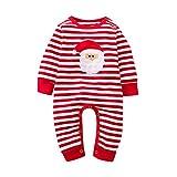 Ansenesna Weihnachten Kostüm Baby Mädchen Jungs Strampler Weihnachts Kleidung Overall Langarm Streifen Baumwolle Outfit (80, Rot 4)