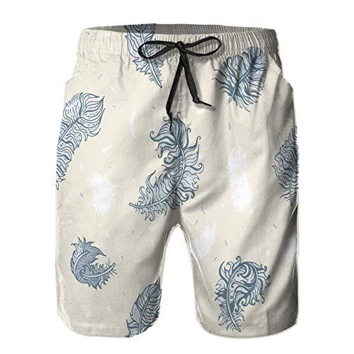 Aerokarbon Hombres Playa Bañador Shorts,Dibujado a Mano de Fondo Transparente de Plumas Vintage,Traje de baño con Forro de Malla de Secado rápido 2XL