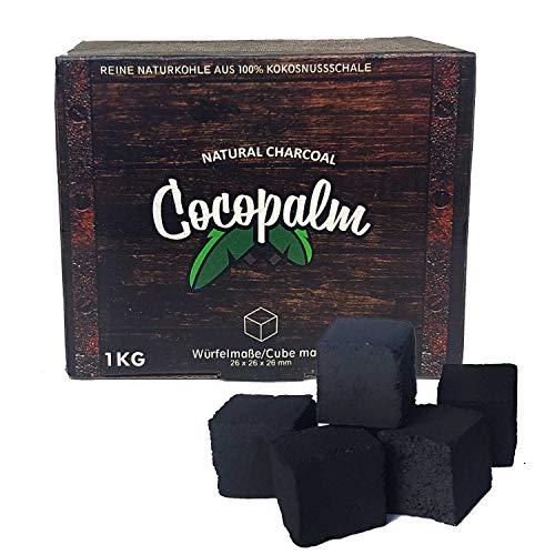 Cocopalm | 1 KG | Shisha Naturkohle aus 100% Kokosnuss - 180 Minuten Brenndauer | Starke Hitze | kein Eigengeschmack