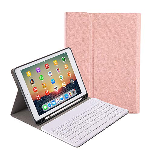 for iPad 8th Generation (2020)/7th Gen(2019) 10.2 inch Keyboard Case, Slim Folio Cover Removable Detachable Wireless Bluetooth Keyboard with Apple Pencil Holder for iPad 10.2″(Rose Gold)