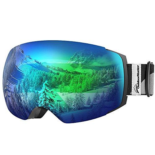OutdoorMaster Skibrille Pro für Damen&Herren, Snowboardbrille mit magnetisch wechselsystem, OTG Schneebrille, Ski Goggles(Schwarzer Gurt VLT 18% Graues Gläser mit vollem REVO Grün&Schutzhülle)
