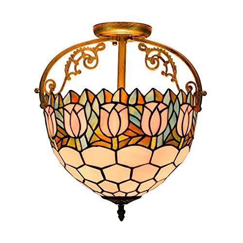 Lámpara Colgante De Techo Con Vitrales Estilo Tiffany, Lámpara Colgante De Tulipán Pastoral Europeo De 12 Pulgadas, Dormitorio, Sala De Estar, Lámpara De Cocina De 2 Luces,A