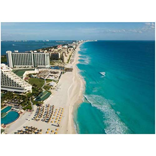 DIY Paint by Numbers Cancun Beach Panorama Aerial View Aerial View of Caribbean Sea Beach for Adults Kids Beginners Painter Colorful Oil Paintings Gift Kit with Paintbrushes 16x20inch