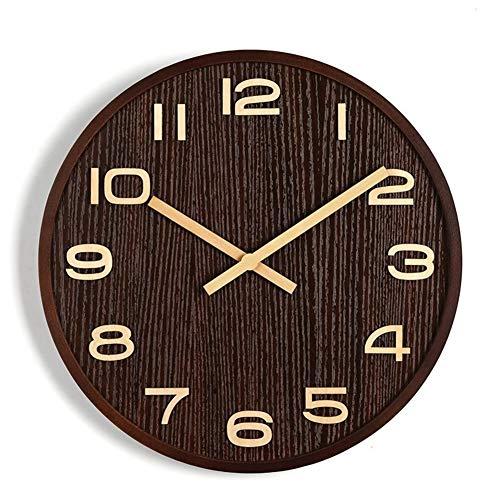 FOOSKOO Wall Clocks Mur Cloc Cadre en Bois Massif Aiguille en Bois Muette en Noyer Couleur Numérique 16 Pouces pour La Maison Bureau Salon Chambre Décoration