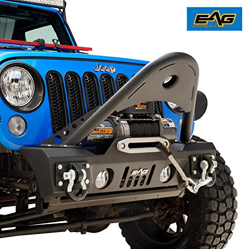 EAG Front Bumper Stinger with D-rings and Fog Lights Hole Fit for 07-18 Wrangler JK Offroad
