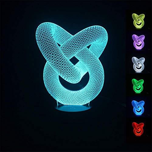 Sleeplite - Lámpara de noche para niños con diseño de círculos 3D, tres patrones, función de sincronización y 16 cambios de color con mando a distancia