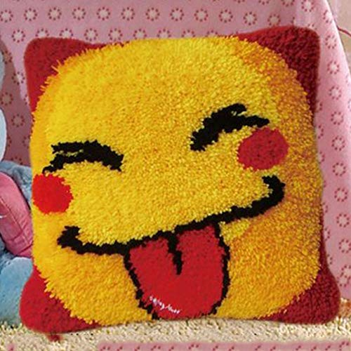 Latch Hook Kits For Adults Large DIY Handmade Craft Pillowcase Embroidery Kit Cushion Cover Emoji Smiley 40 * 40cm (Size : Color grid with pillow core)