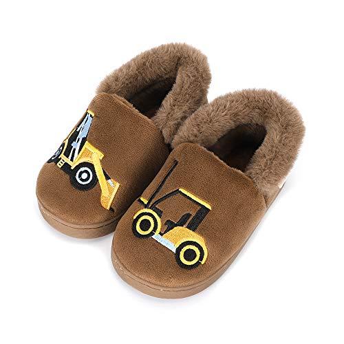 LACOFIA Pantofole Invernali da Bambino Ciabatte Peluche da casa Calde Antiscivolo per Bambini Escavatore Marrone 23/24