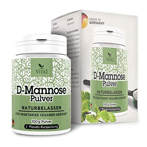 VITA1 D-Mannose Pulver • 100g (2 Monatspackung) • rein und naturbelassen & vegan und frei von Zusatzstoffen