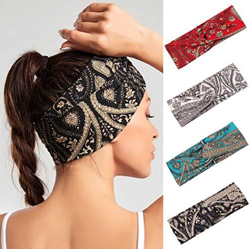 IYOU Bandeaux Boho Yoga Bandeau Élastique Sport Bandes Élastiques Pour Les Cheveux Noués Large Black Head Wraps pour Femmes et Filles (pack de 4)