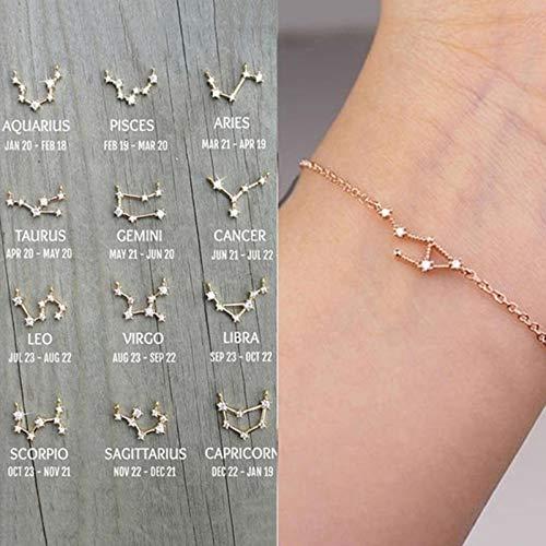 LIUL Constelación Pulseras Simples para Mujer Charm Zodiac Pattern Chain Brazaletes Bebé Cumpleaños Pulsera Regalo, Aries, Plata