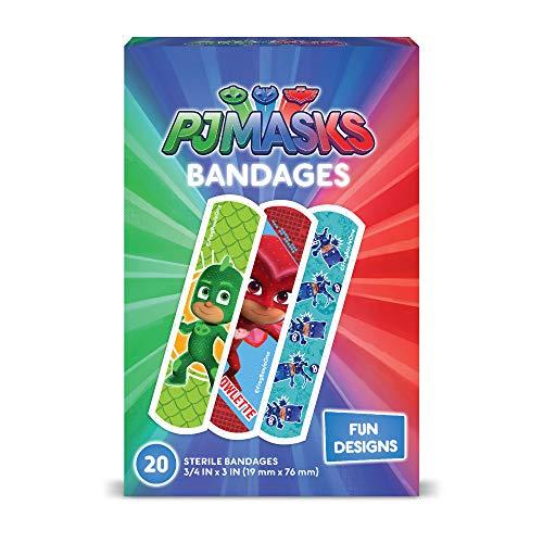 PJ Masks Kids Bandages, 100 ct | Adhesive Antibacterial Bandages for Minor Cuts, Scrapes, Burns. Great Stocking Stuffer or White Elephant