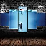 Decoración para el hogar, arte de pared, pintura en lienzo, 5 piezas de lienzo de arte de pared,Cebo de pesca señuelos, paisaje, carteles, imagen,...