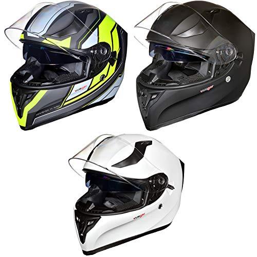 RT-826 Integralhelm Motorradhelm Integral Motorrad Roller Quad Helm rueger, Größe:S (55-56), Farbe:Black Neon