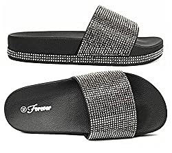 Black-07 Rhinestone Glitter Slide Slip On Sandal