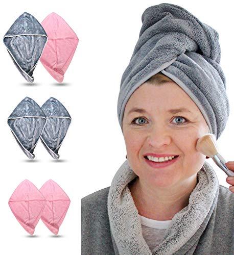 EliXito Haarturban 2er Set - Samtig weiches Turban Handtuch mit Knopf - Mikrofaser Handtuch für Lange & Kurze Haare - Für Kinder & Erwachsene Schnelltrocknend (Grau)