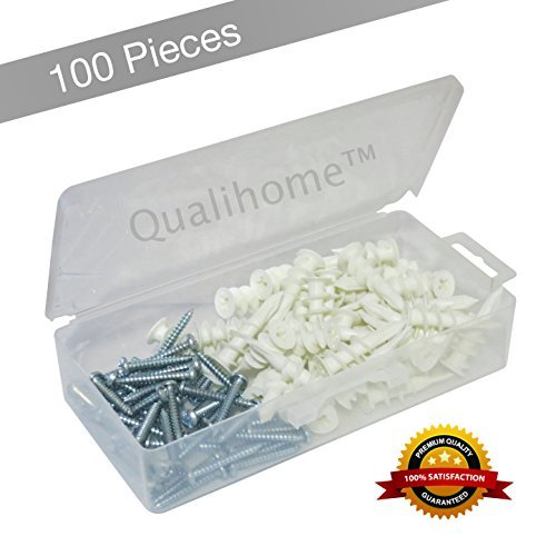 Best Quality Plastic Self Drilling Drywall Anchors with Screws Kit, 100 Pieces All Together, Anchors Made in USA