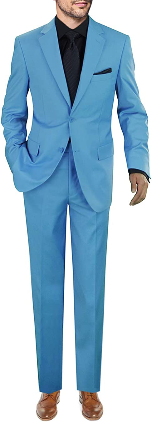 GN GIORGIO NAPOLI Men's Two Button 2 Piece Suit Set Jacket with Pant Modern Fit