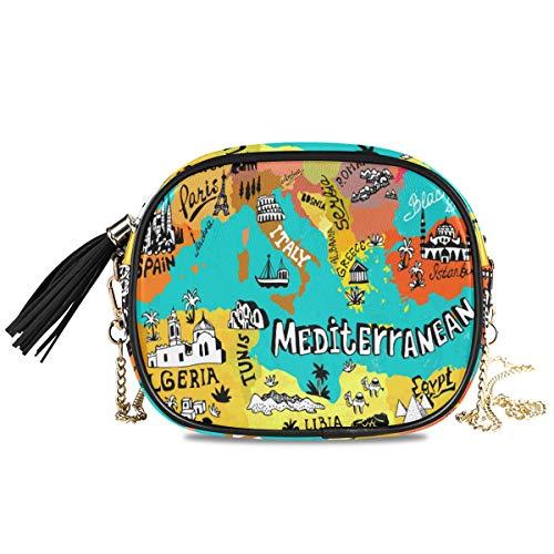 Damen Handtasche mit Quaste, Motiv mediterraner Landkarte