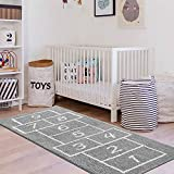 LIVEBOX Kids Play Mat,Hopscotch Area Rug Runner 2' x 5' Soft Plush Playroom Carpet Non-Slip Childrens Numbers Educational & Fun Throw Rugs for Bedroom Nursery Decor Best Shower Gift (Gray)
