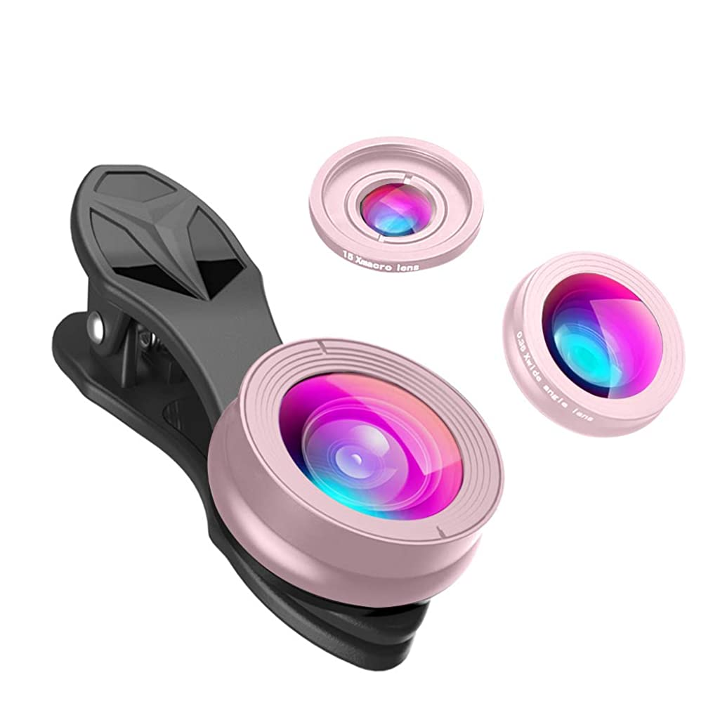 APEXEL SJ3 Optic Phone Camera Lens, 0.28x Fisheye, 0.36x Wide Angle, 15x Macro for Apple iPhone 7/7 Plus, iPhone 8/8S/8 Plus, The New iPad, iPad 4/3/2, Samsung Galaxy S9/S8, LG K8/G7/G6 (Rose Gold)