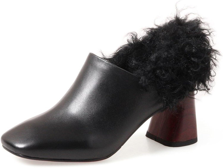 Nine Seven Genuine Leather Women's Square Toe Mid Chunky Heel Slip On Handmade Comfort Fashion Pump shoes