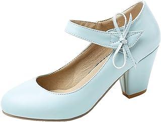 AbbyAnne Women Sweet Bow Pumps Shoes D Orsay Block Heels Sandals Size 1-12 US