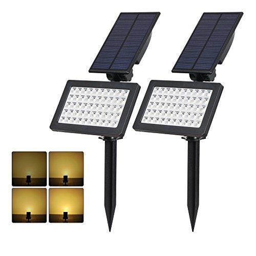 (2 Pezzi) T-SUN Luci Solari da Esterno, Wireless Lampada Solare da Giardino con 50 LED, 2 Modalità Funzione, 3500K, IP65 impermeabile Lampada Solare da Sicurezza per Giardino, Sentiero, Prato.