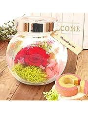 母の日 の プレゼント バラ おいもやケーキ洋菓子 花とスイーツ プリザーブドフラワー アレンジメント 母の日ギフト (バウムクーヘン付き・赤色)