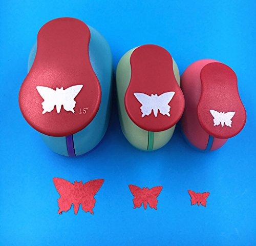 """TECH-P Creative Life 3 PCS (1.5"""",1"""",5/8"""") Butterfly Shape Craft Punch Scrapbook Paper Cutter Eva Foam Hole Punch"""