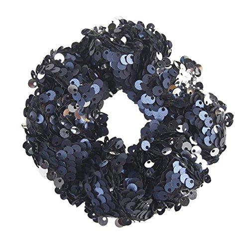 Longra haarband voor vrouwen en meisjes, elastisch, mini, elastisch, van touw, elastisch, pailletten, ornament, ringen, haarkleuren Eén maat Rose vifA